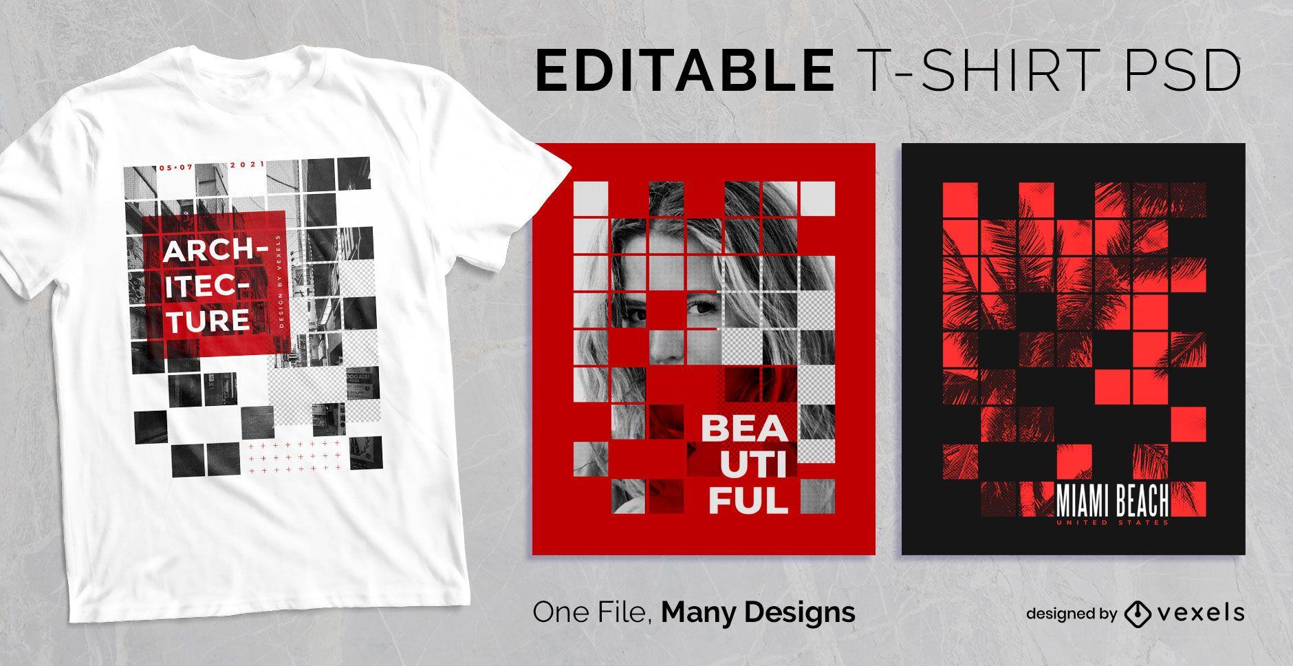 Dise?o de camiseta de cuadr?cula cuadrada abstracta PSD