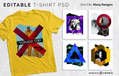 Design PSD de camiseta com colagem de formas