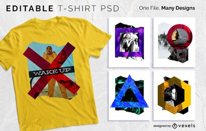 Diseño de camiseta de collage de forma PSD