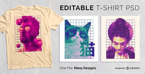 Design de t-shirt de colagem de grade PSD