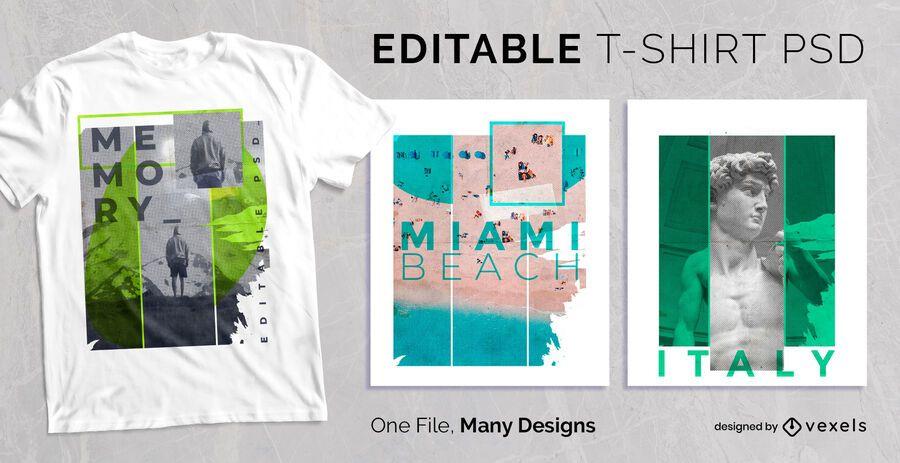 Concepto Collage Diseño de camiseta PSD