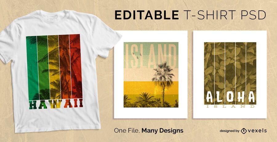 Diseño de camiseta con efecto de rayas de paisaje PSD