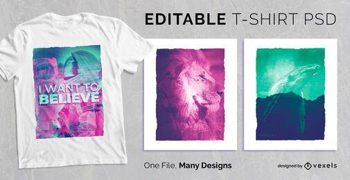 Design de camiseta dupla exposição PSD