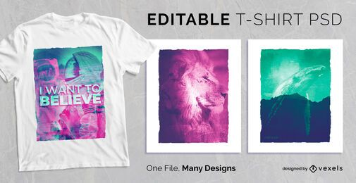 Double Exposure T-shirt Design PSD