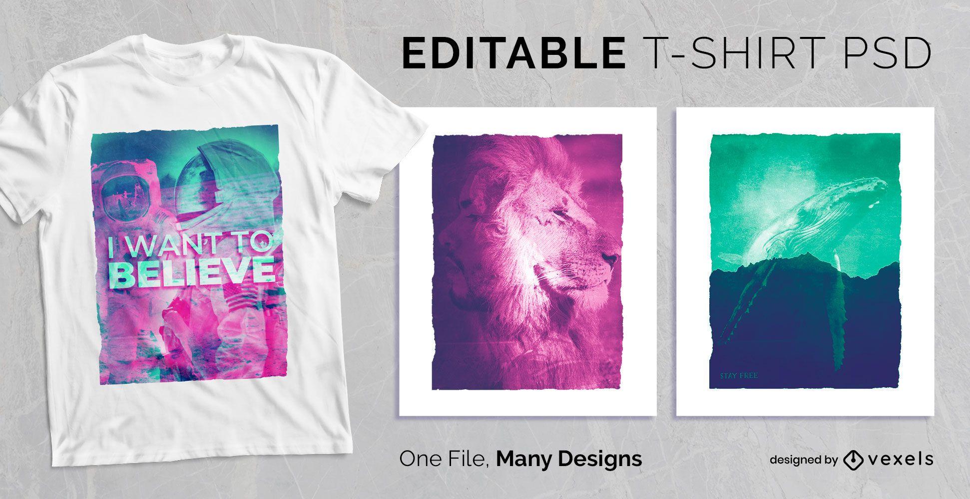 Design PSD de t-shirt de dupla exposição