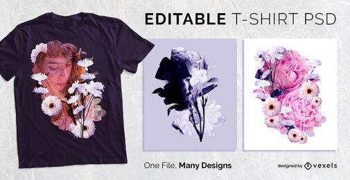 Diseño de camiseta con efecto floral PSD