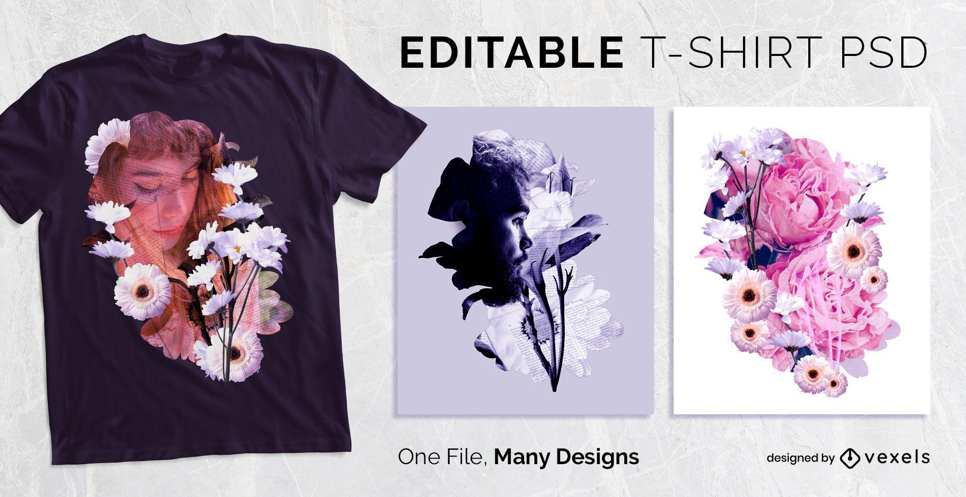 Floral Effect T-shirt Design PSD