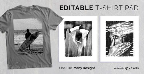 Design de t-shirt de moldura texturizada PSD