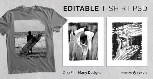 Diseño de camiseta con marco texturizado PSD