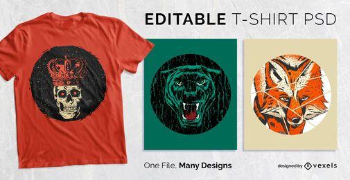 Diseño de camiseta con insignia redonda apenada PSD