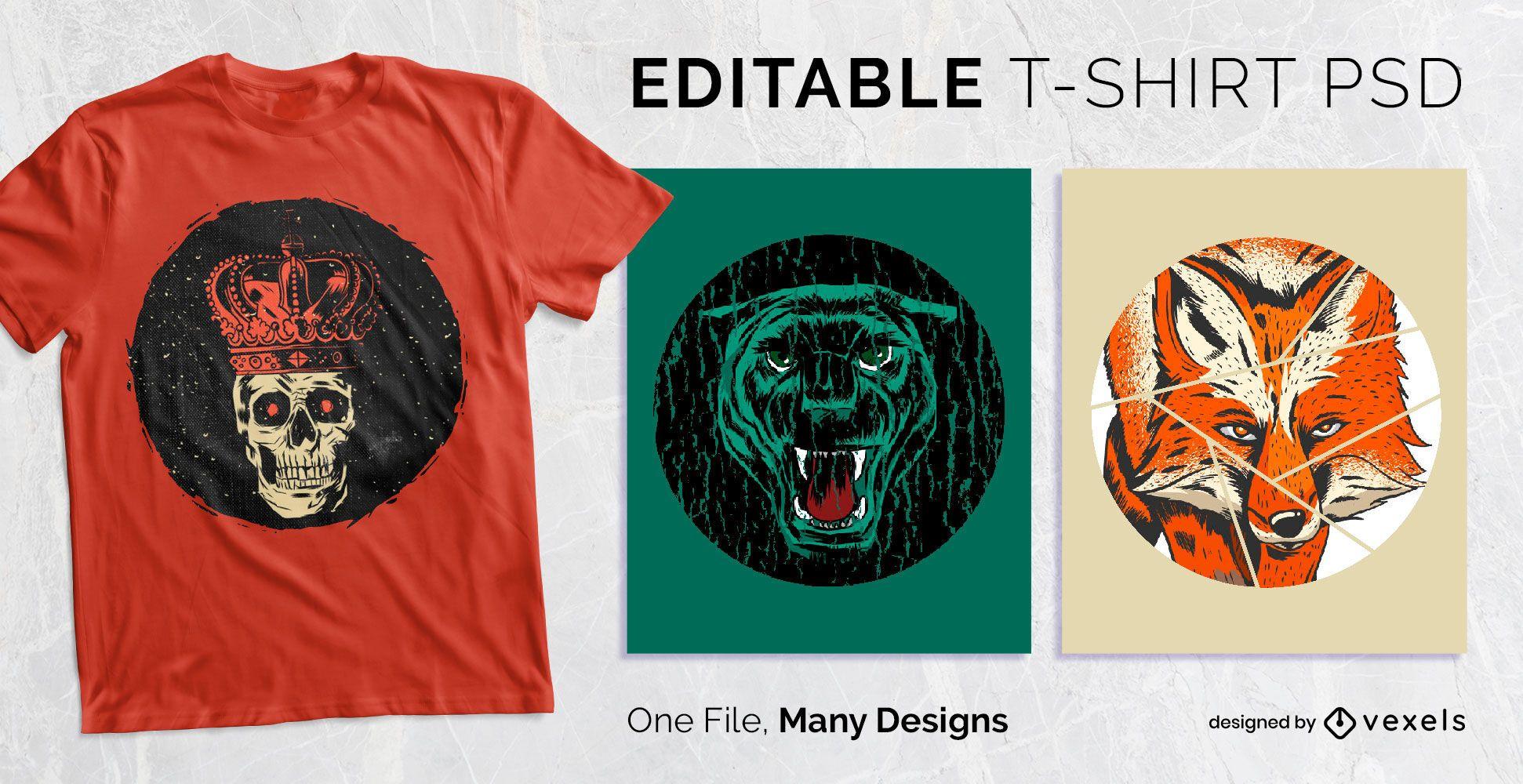 Design PSD de t-shirt com emblema redondo afligido