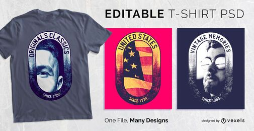 Diseño de camiseta personalizada con insignia ovalada PSD