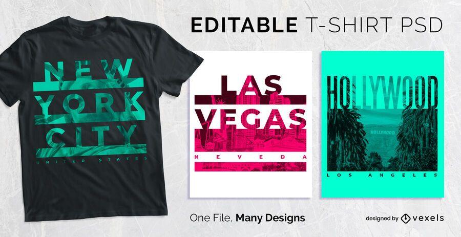 Diseño de camiseta de efecto de texto subrayado PSD
