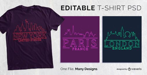 Neon Skyline T-shirt Design PSD