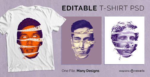 Camiseta creativa de cabeza abierta PSD