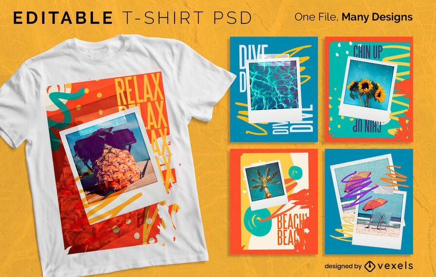 Diseño colorido de la camiseta de Polaroid PSD