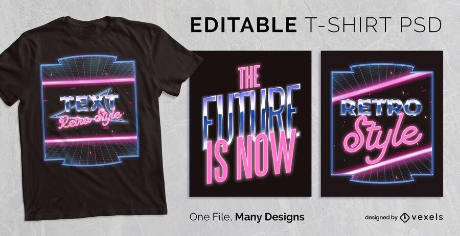 Diseño de camiseta de texto de neón retro PSD