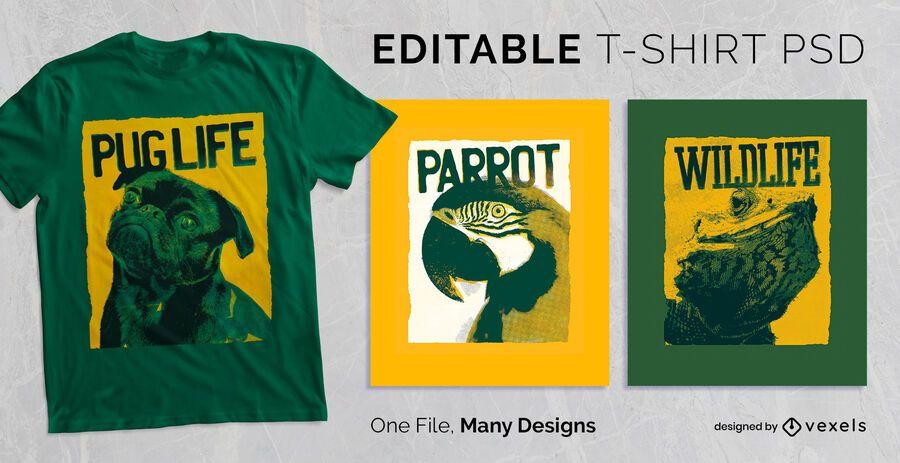Diseño de camiseta de texto de serigrafía PSD