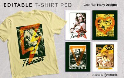 Diseño de camiseta con marco de serigrafía PSD