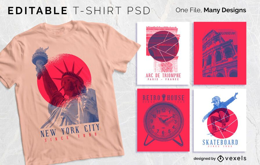 Duotone Serigraphy T-shirt Design PSDD