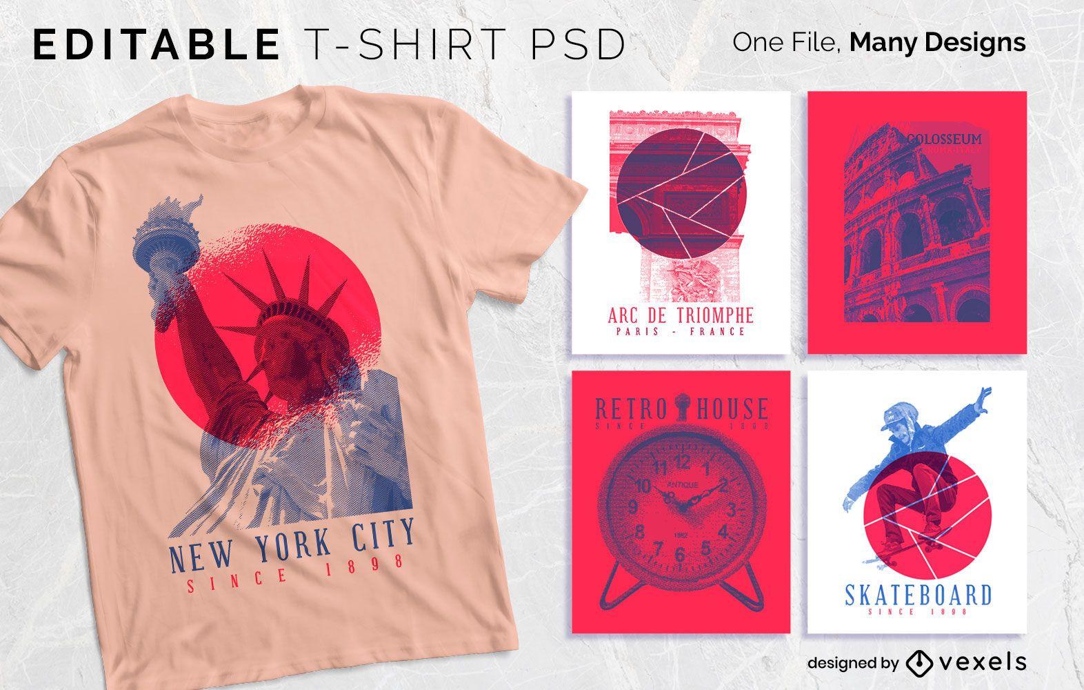 Diseño de camiseta de serigrafía duotono PSDD