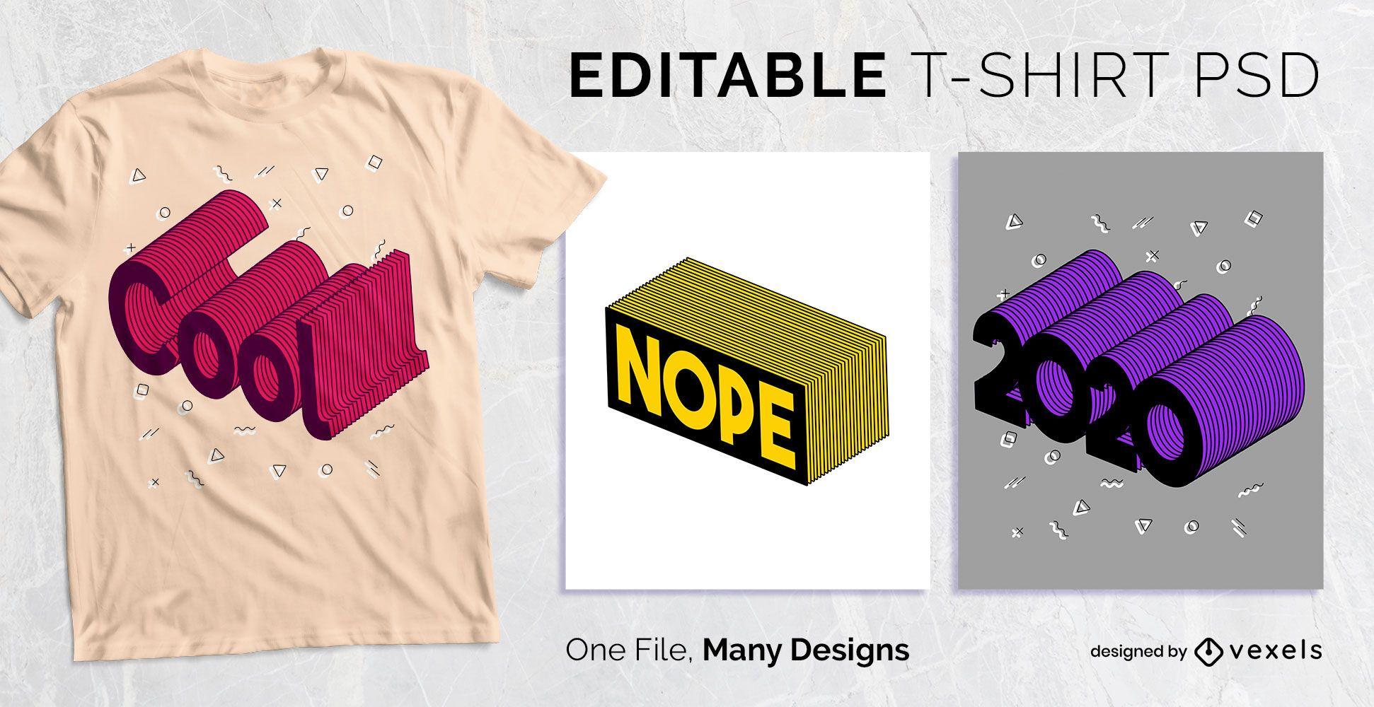 Diseño de camiseta de texto de trazo 3D PSD