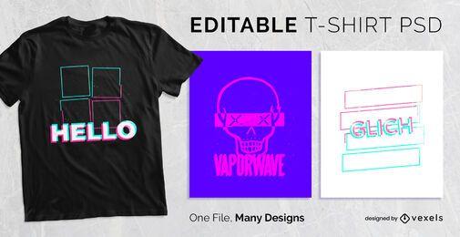 Diseño de camiseta con efecto de falla PSD