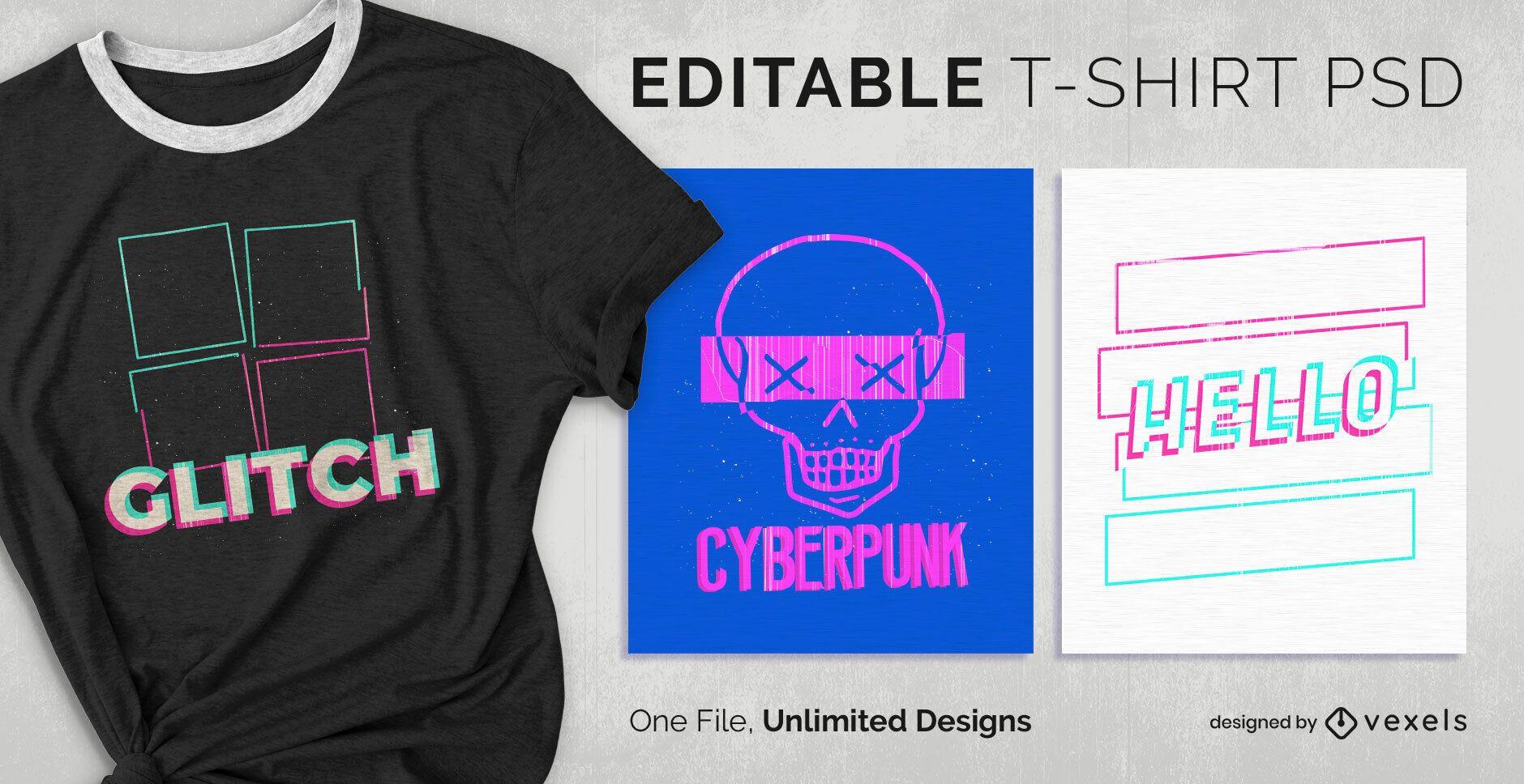 Glitch Effect T-shirt Design PSD