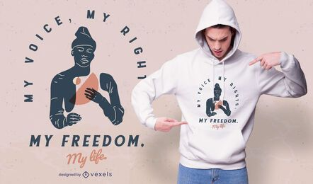 mi voz mis derechos diseño de camiseta