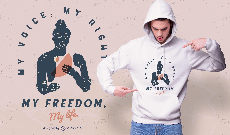 minha voz design de t-shirt meus direitos