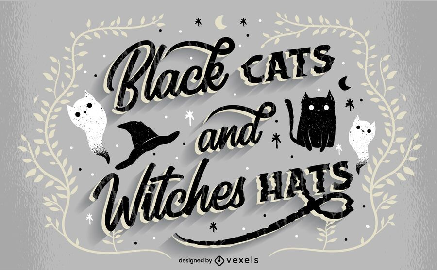 Black cats halloween lettering