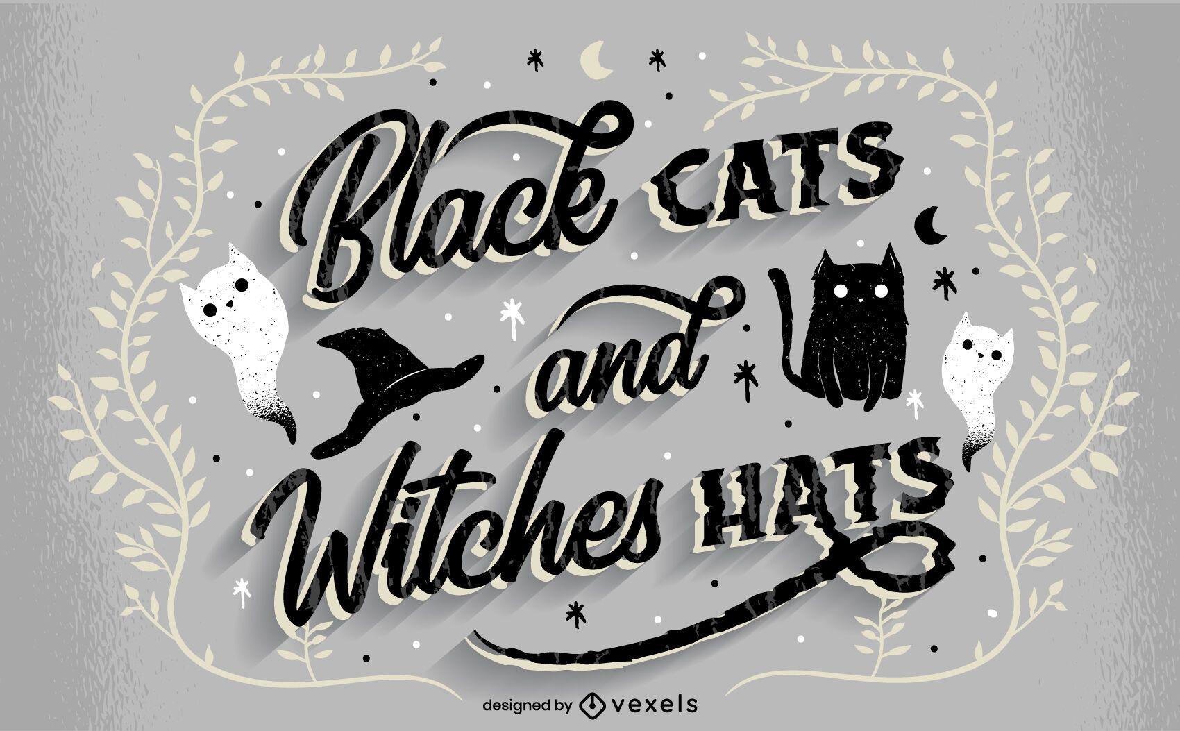 Gatos pretos letras de halloween