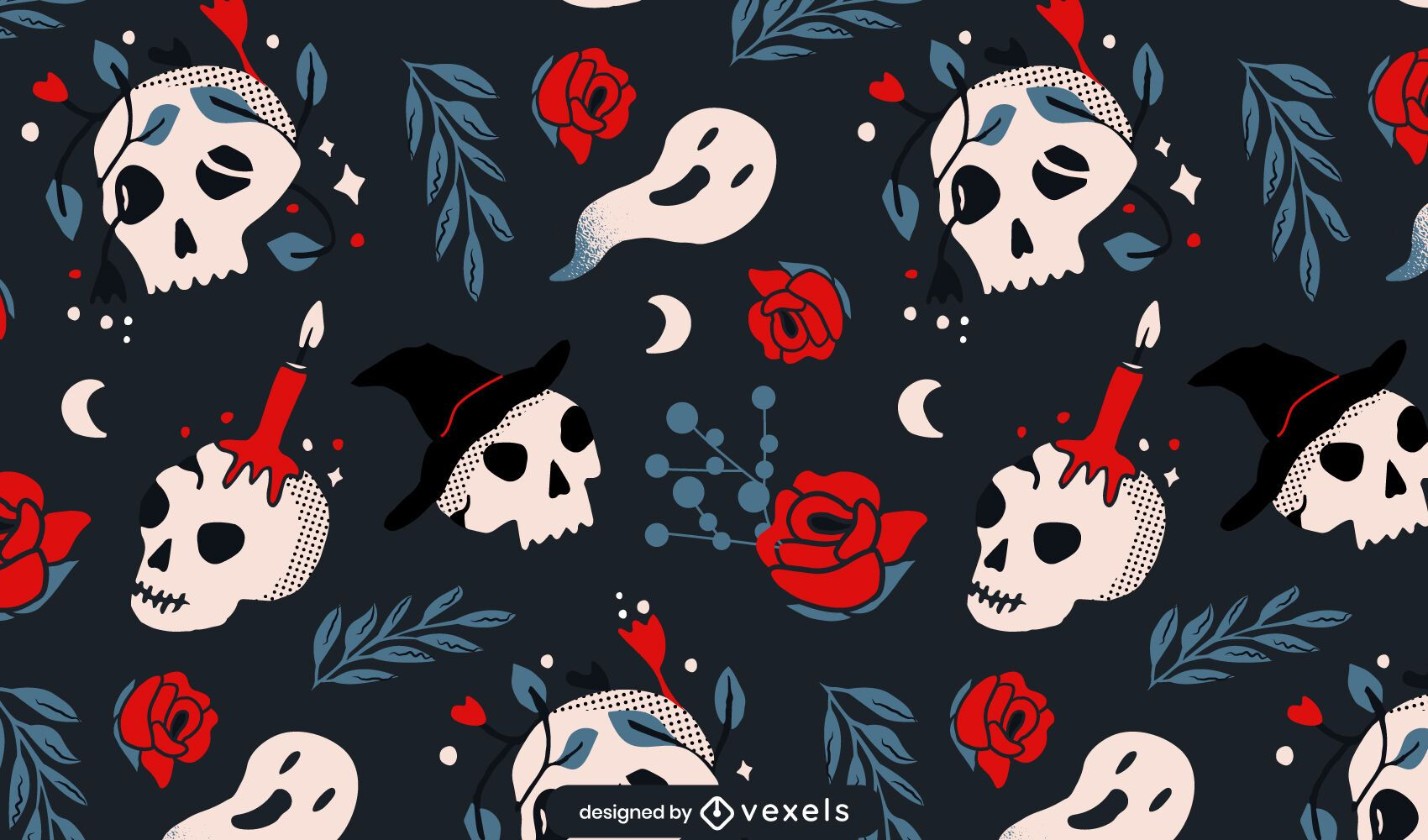 Halloween skulls roses pattern