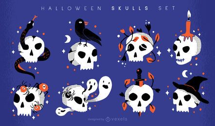 Halloween skulls illustration set