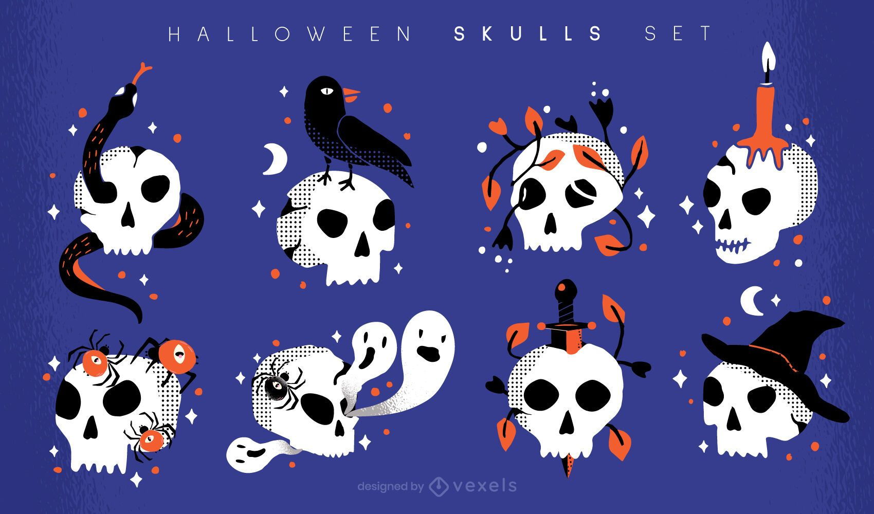 Conjunto de ilustraci?n de calaveras de halloween