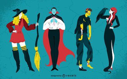 Halloween creatures character set