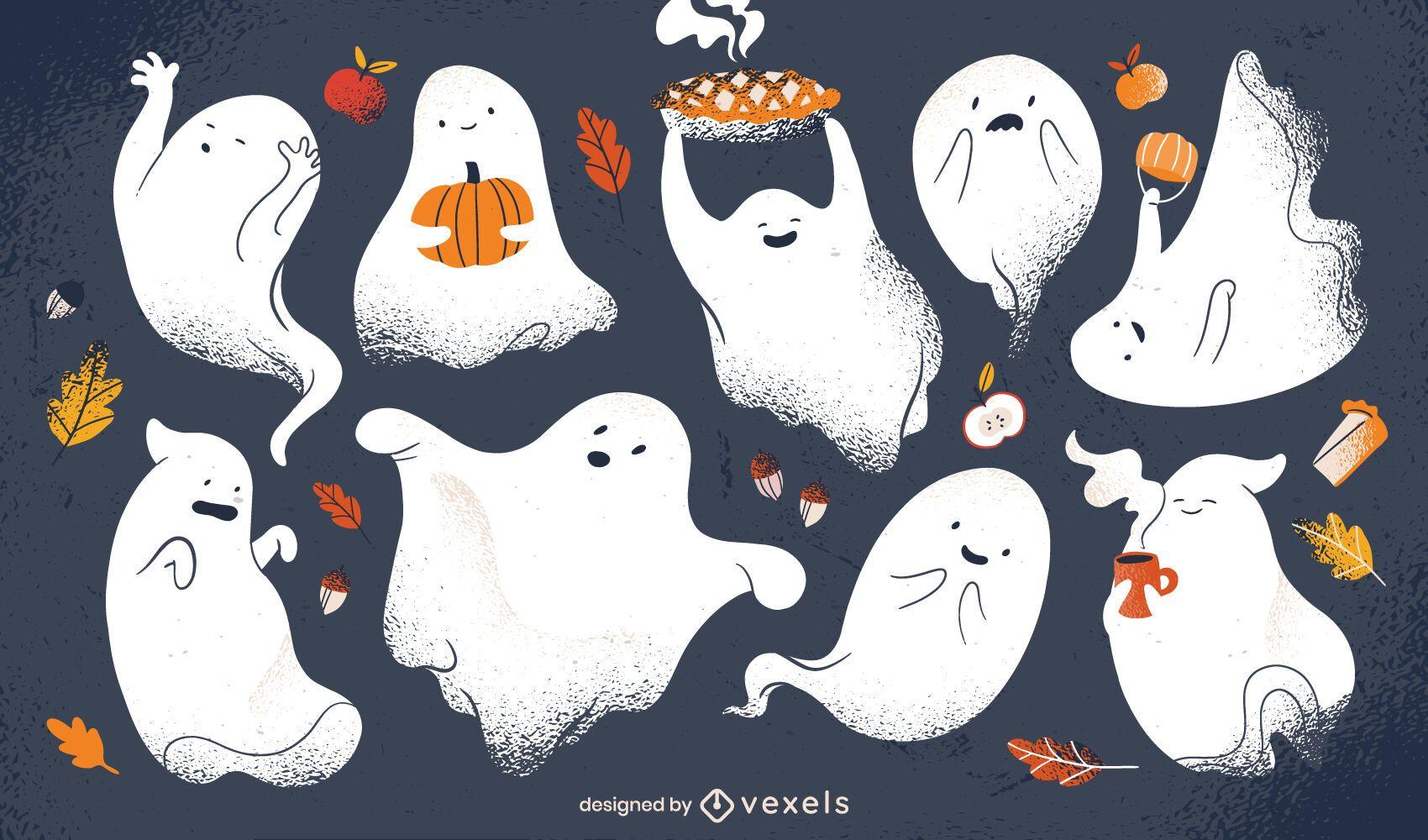 Conjunto de personagens de fantasmas de Halloween
