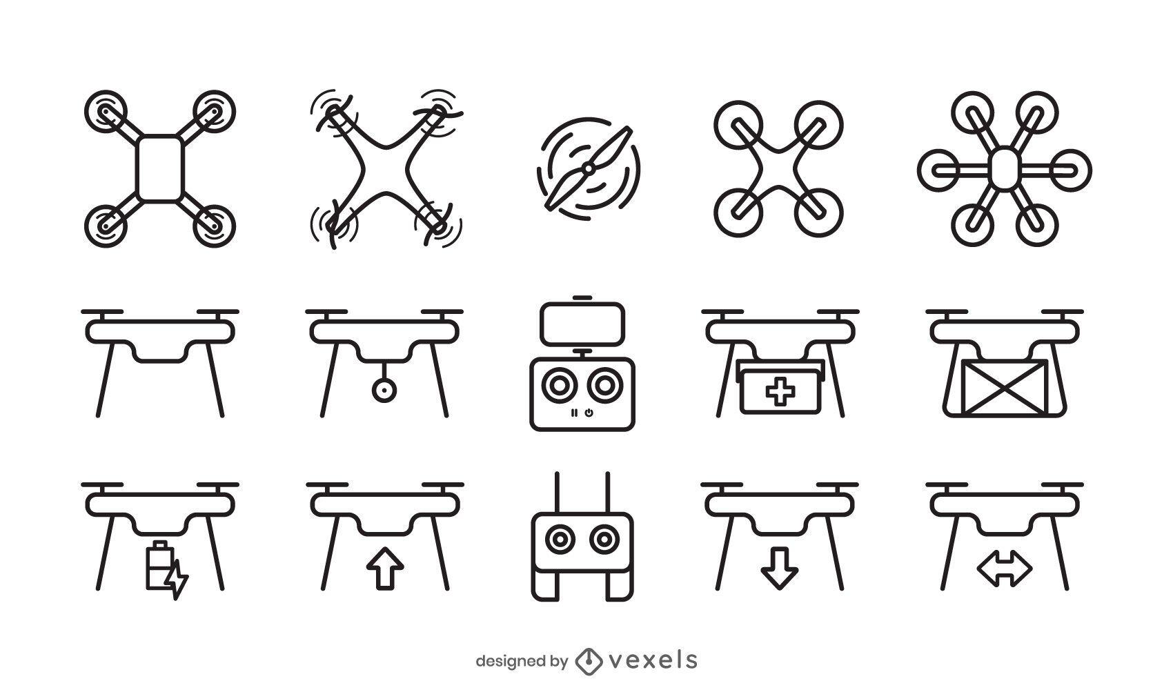 drone icon stroke set