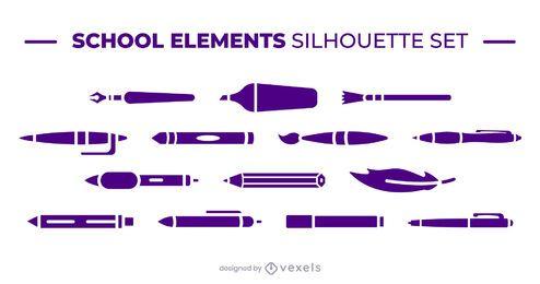 Conjunto de elementos de escritura escolar