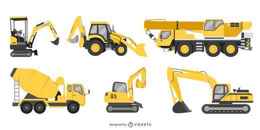 Conjunto plano de máquinas de construção
