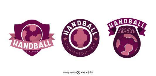 Conjunto de ilustración de insignia de balonmano