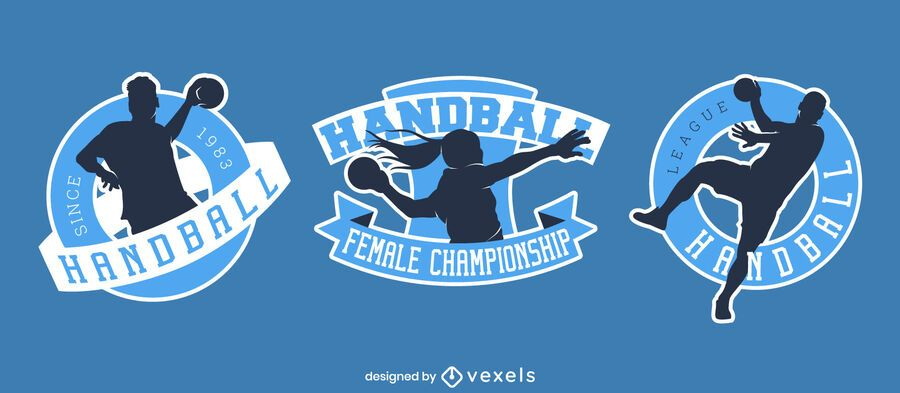 Handball players badge illustration set