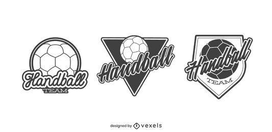 Conjunto de ilustración de insignia de equipo de balonmano