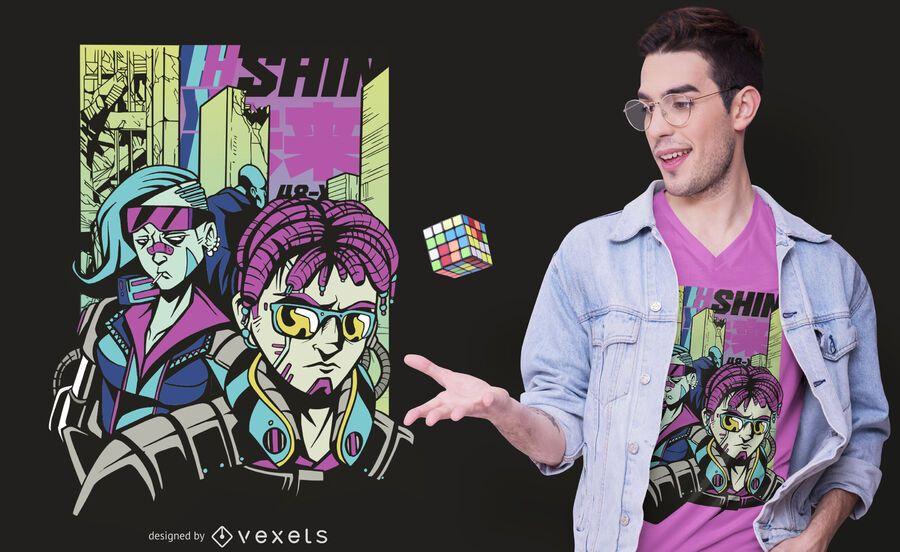Diseño de camiseta de personajes de Cyberpunk