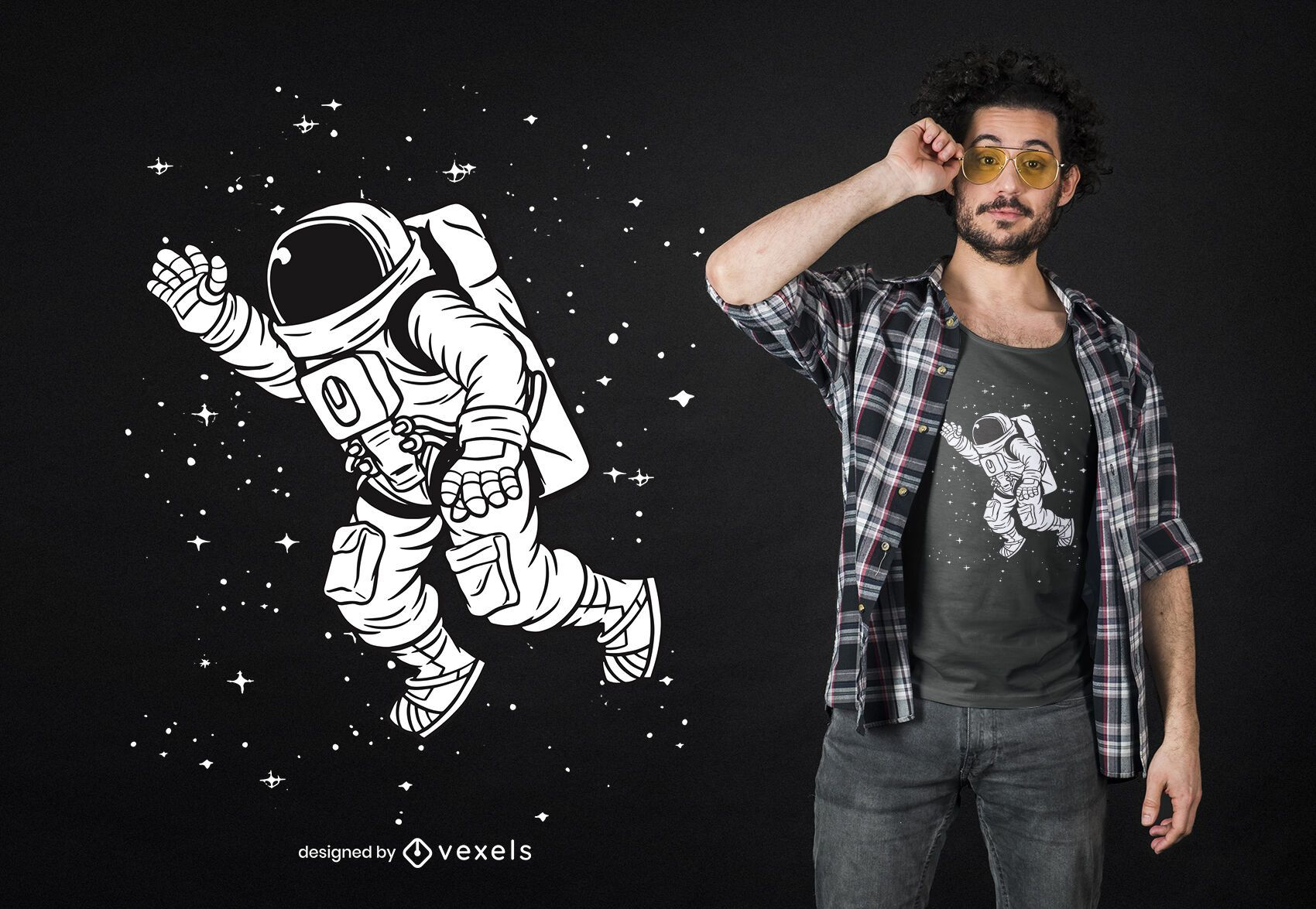 Diseño de camiseta de astronauta espacial.