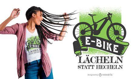 Projeto alemão do t-shirt do texto da E-Bicicleta