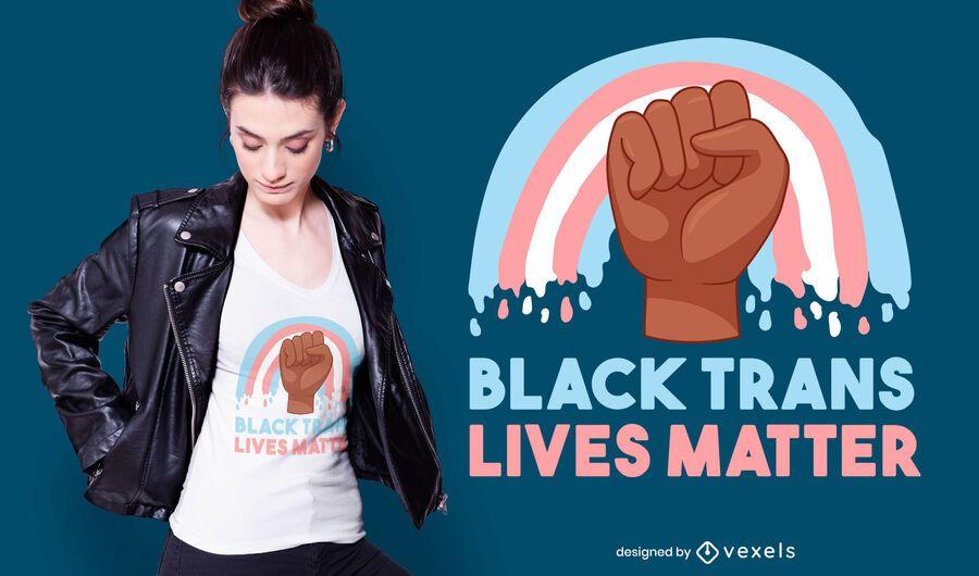 Diseño de camiseta negra trans lives