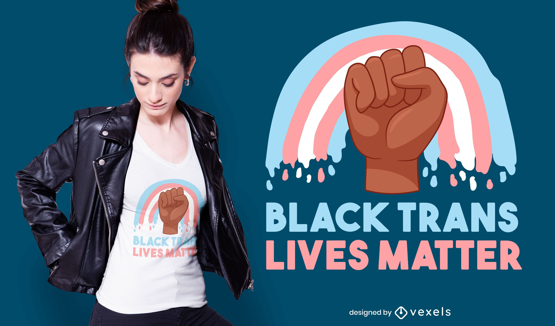 Design de camiseta preta trans vive