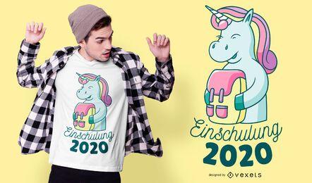 Diseño de camiseta de inscripción escolar de unicornio