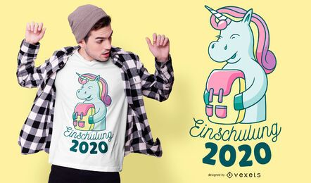 Diseño de camiseta de inscripción escolar unicornio.